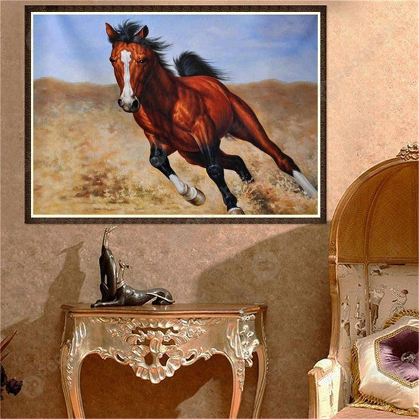 40*30CM Round Drill Diamond Painting-Horse