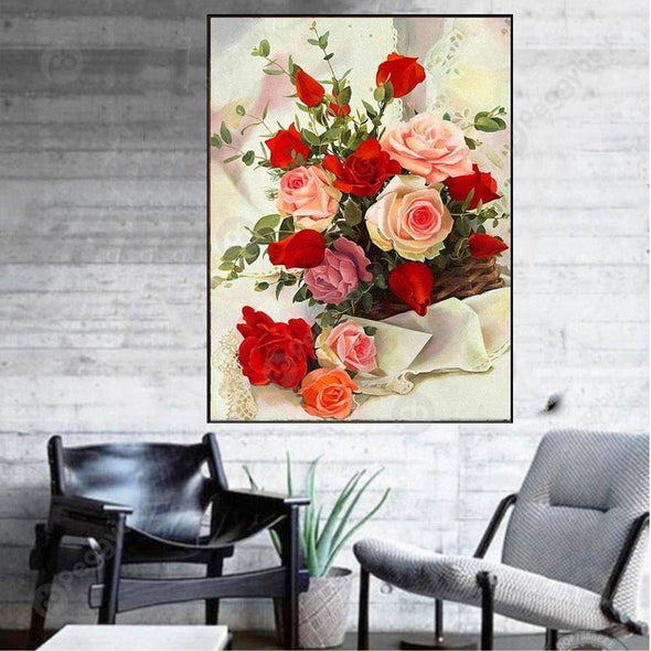 30*40CM Round Drill Diamond Painting-Flower