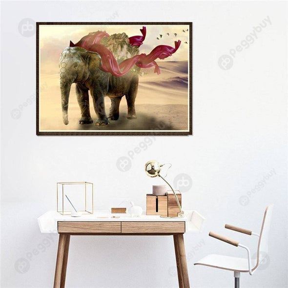 40*30CM Round Drill Diamond Painting-Elephant