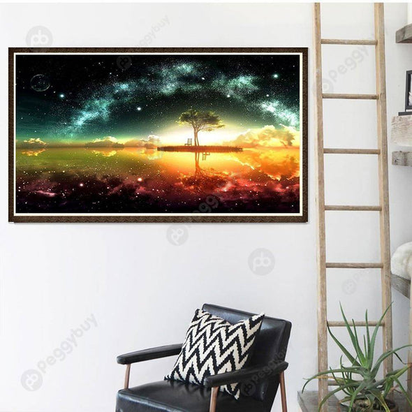 40*30CM Round Drill Diamond Painting-Starry Sky