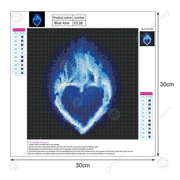 30*30CM Round Drill Diamond Painting-Flame(Blue Love)