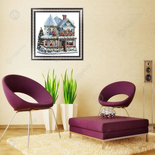 30*30CM Round Drill Diamond Painting-Magic Forest House