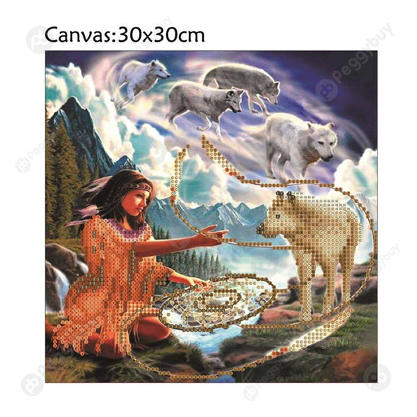 30*30CM Round Drill Diamond Painting-Beauty Girl