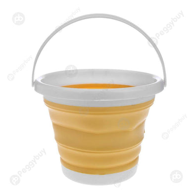 1pc Folding Painting Bucket Silicone Washing Pen Barrel Art Tool(Yellow)