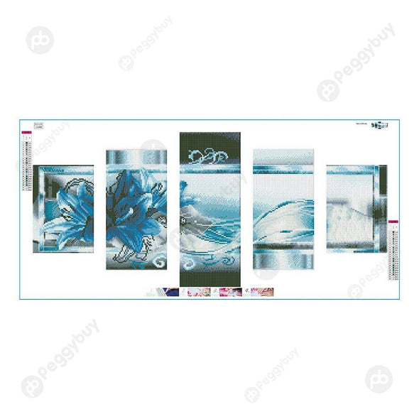 95*45CM Multi-picture Diamond Painting-5pcs-Blue Flowers