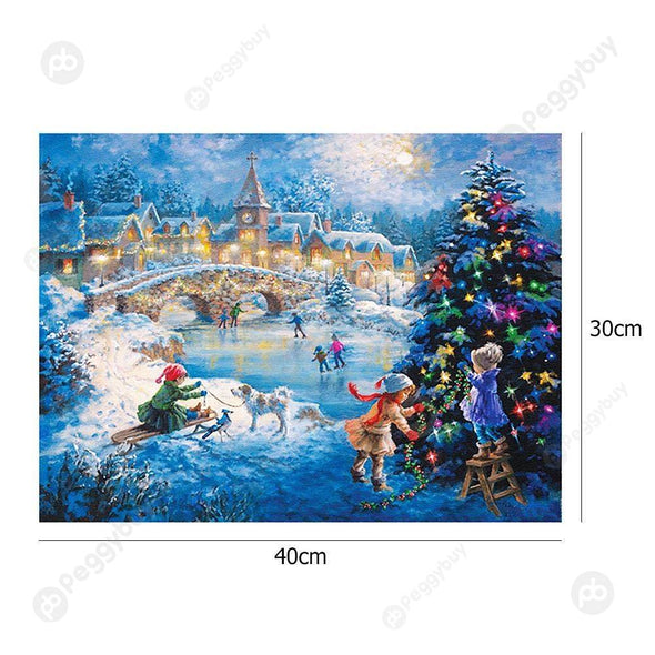 40*30CM Round Drill Diamond Painting-Christmas Eve