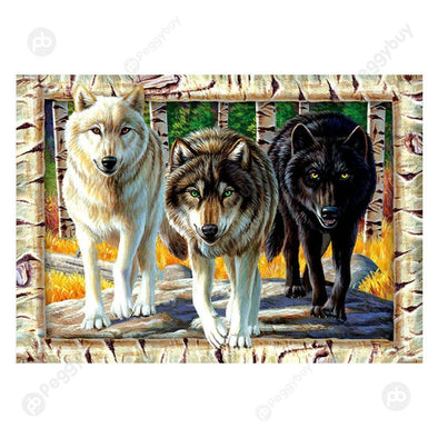 40*30CM Round Drill Diamond Painting-Wolfs