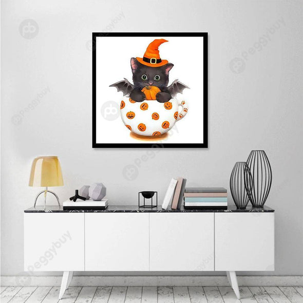 30*30CM Special Shaped Diamond Painting-Pumpkin Cup Cat