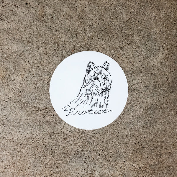 Circular Protect Wolf Sticker