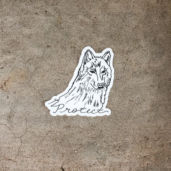 Large Protect Wolf Sticker