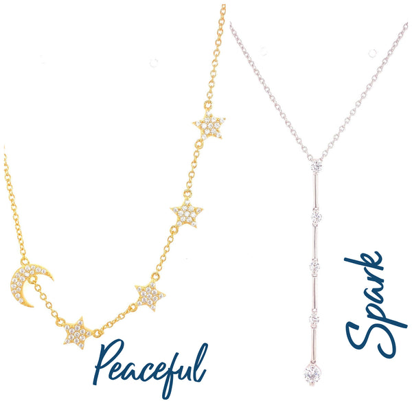 Peaceful necklace and Spark necklace