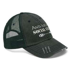 "Anti-Social Social Club - Embroidered Design on ""Distressed Look"" Trucker Hat"