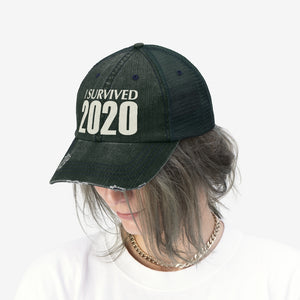 "I Survived 2020 - Embroidered Design on ""Distressed Look"" Trucker Hat"