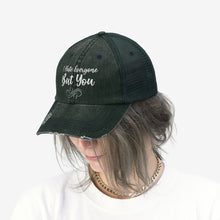 "Load image into Gallery viewer, I Hate Everyone But You - Embroidered Design on ""Distressed Look"" Trucker Hat"