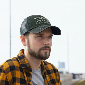 "Pondering the Fate of the Human Race - Embroidered Design on ""Distressed Look"" Trucker Hat"