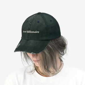 "Secret Billionaire - Embroidered Design on ""Distressed Look"" Trucker Hat"