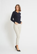 Chloe Slim Cropped Byxor - Grey Sand