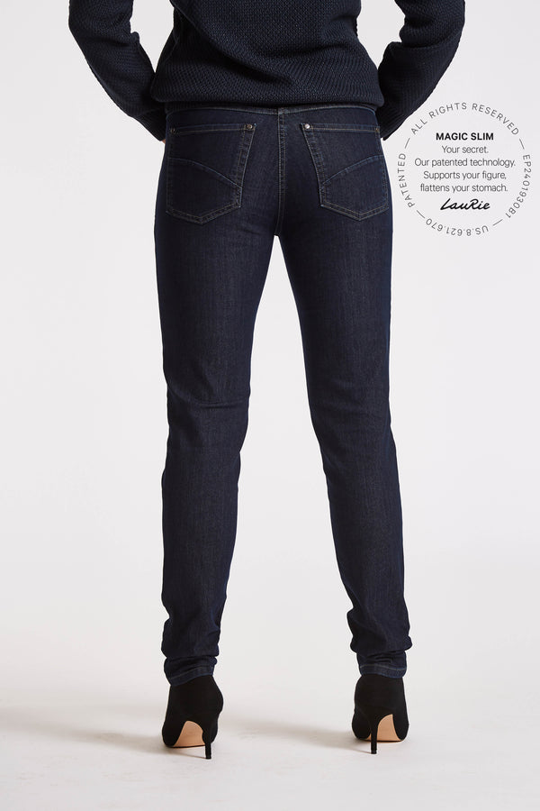 Jane Slim Byxor - Dark Blue Denim