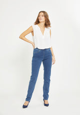 Kelly Regular Byxor - Medium Blue Denim