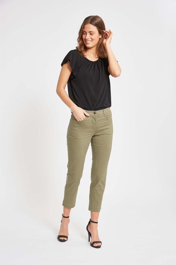 Mia Regular Byxor Cropped - Khaki