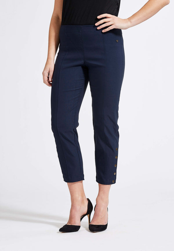 Polly Regular Cropped Byxor - Navy
