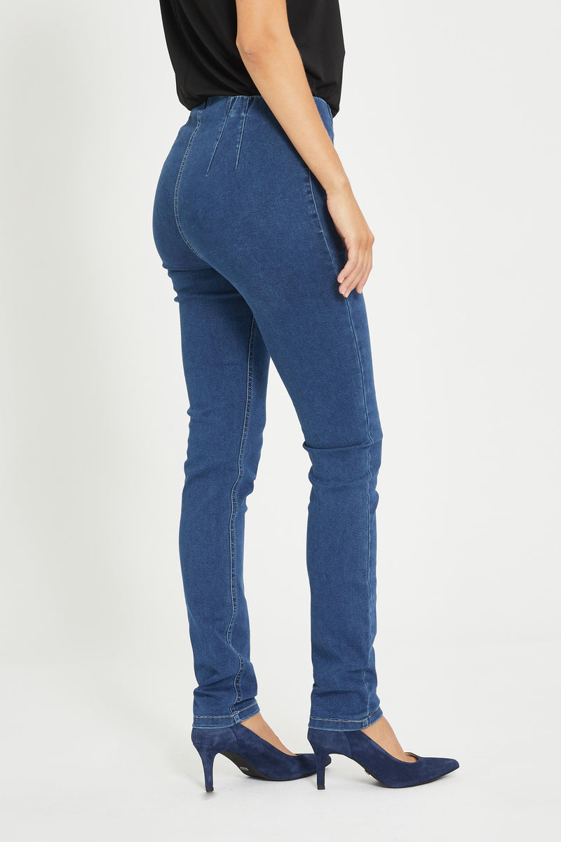 Vicky Slim Byxor - Medium Blue Denim
