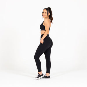 Load image into Gallery viewer, Black Pocket Scrunch Leggings