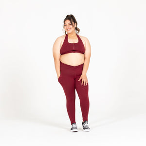 Load image into Gallery viewer, Maroon Zipper Sports Bra