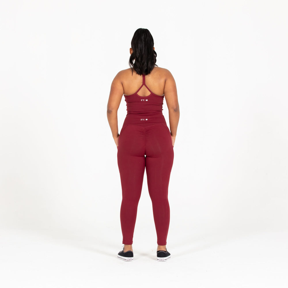 Maroon Pocket Scrunch Leggings