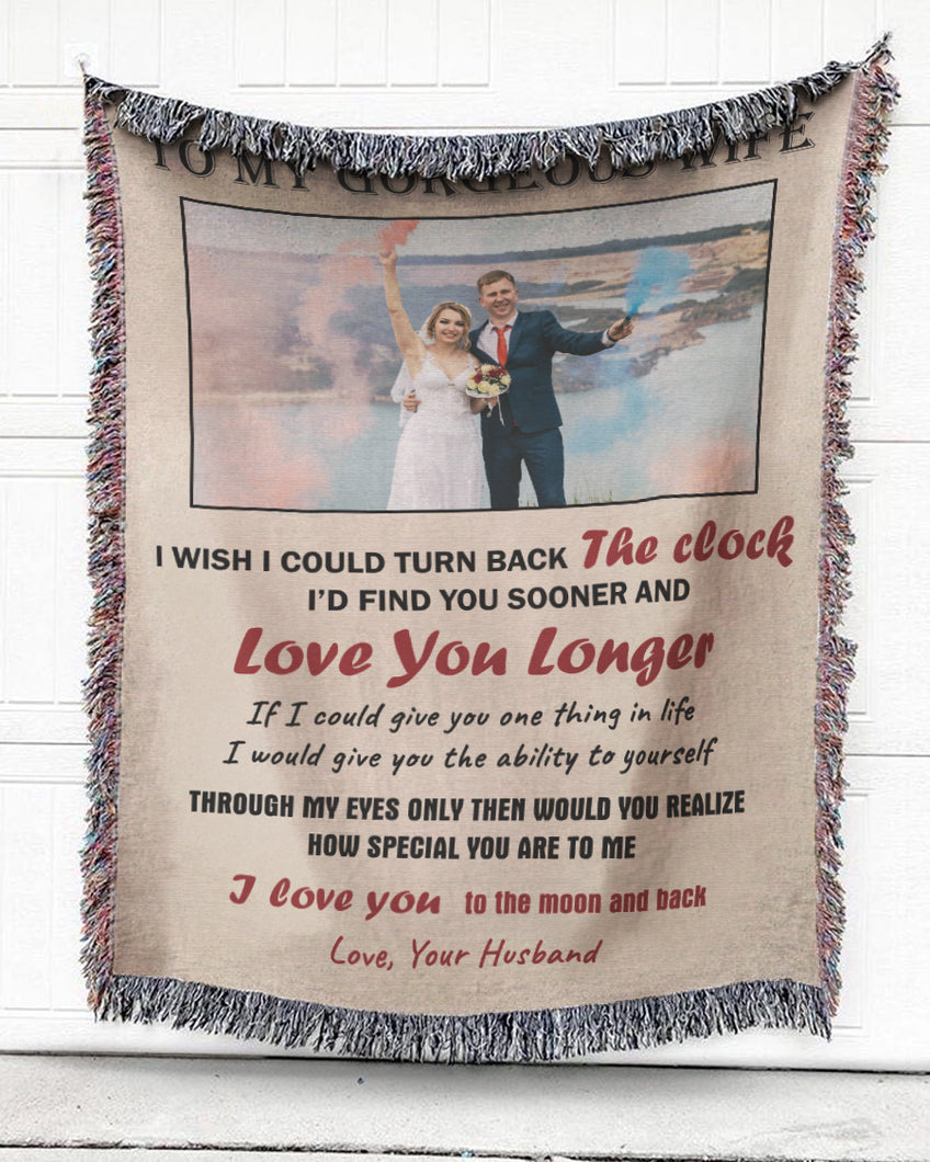 Foal14 Personalized Woven Blanket For Wife Anniversary Gift, To My Gorgeous Wife, With Custom Photo