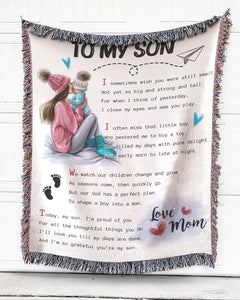 Foal14 Woven Throw For Son Birthday Gift, A Poem To My Son, Cotton Blanket