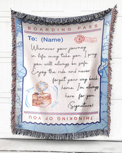 FOAL14 Personalized Woven Blanket For Family Home Decor Gift, Boarding Pass, With Personalized Text