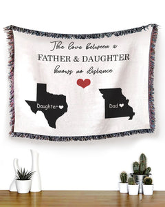 FOAL14 Personalized Woven Blanket For Father And Daughter Birthday Gift, The Love Between States, With Personalized Text