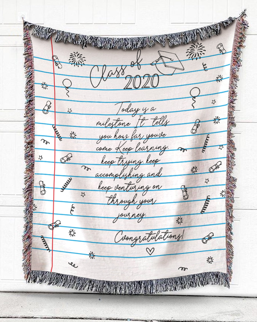 Foal14 Woven Throw For Graduation Home Decor, Graduation - Class of 2020, Cotton Blanket