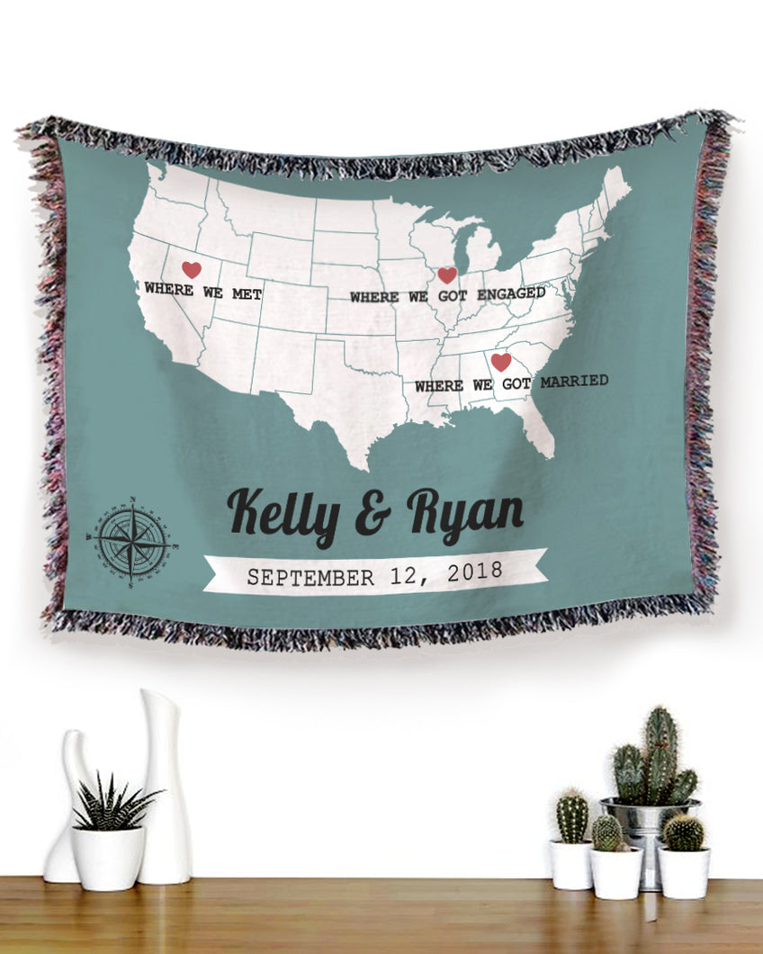 Foal14 Personalized Woven Blanket For Husband And Wife Wedding Anniversary Gift, The States Map - Where We Did, With Custom Names And Locations