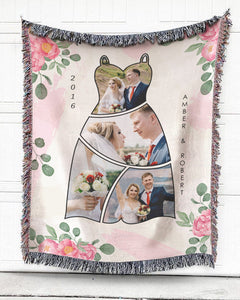 Foal14 Personalized Woven Blanket For Newlyweds Wedding Gift, Happy Wedding Dress, With Custom Photo