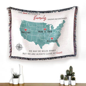 Foal14 Personalized Woven Blanket For Family Mother's Day Gift, The States Map - Love Between Family , With Custom Names And Locations