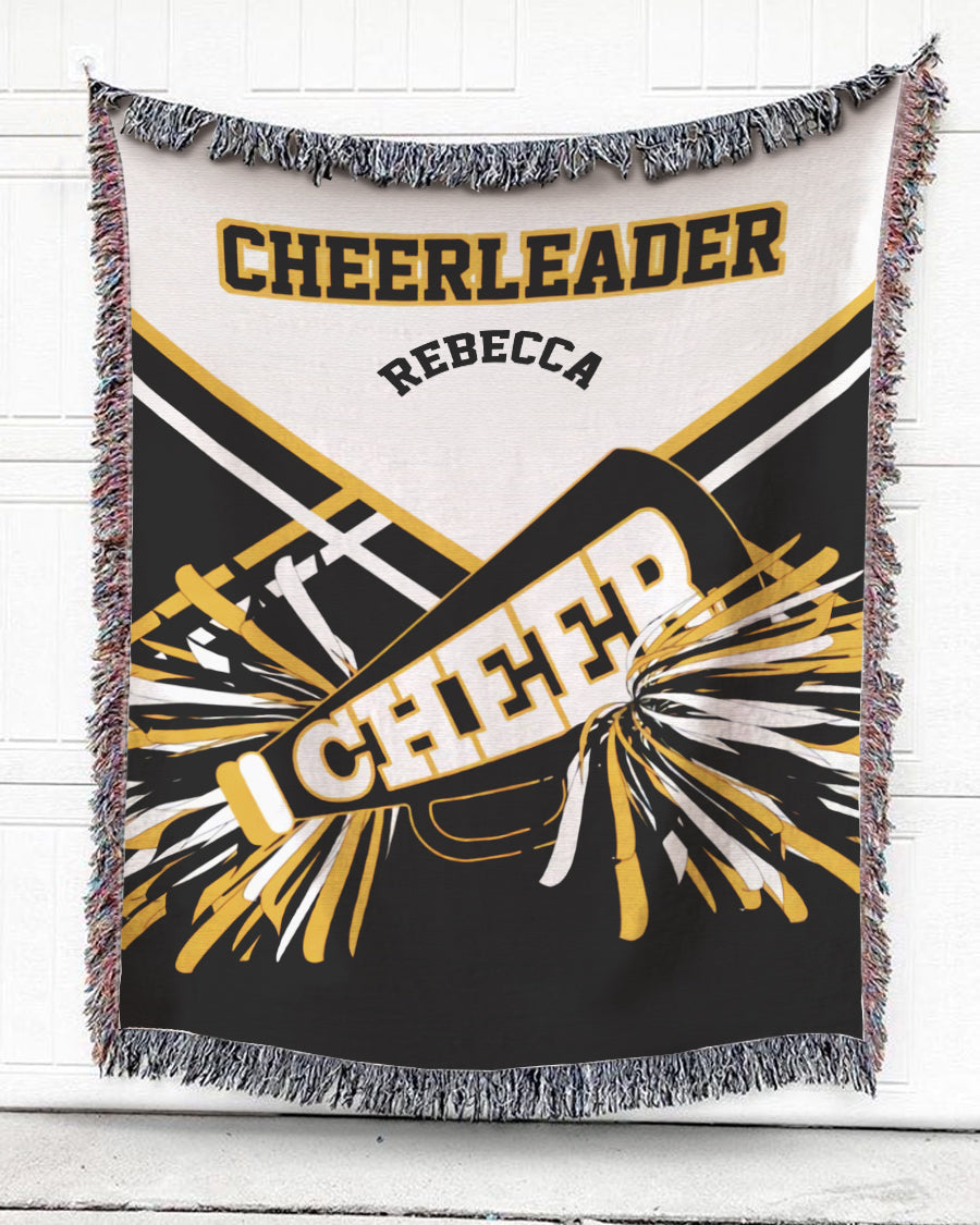 Foal14 Personalized Woven Blanket For Sports Lovers Birthday Gift, Cheerleader, With Personalized Name