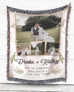 Foal14 Personalized Woven Blanket For Newlyweds Wedding Gift, Build A Life Together, With Custom Photo