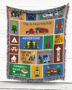 Foal14 Woven Throw For Campers Camping Gift, Camping Is My Therapy, Cotton Blanket