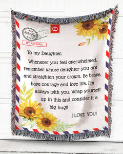 FOAL14 Personalized Woven Blanket For Daughter Birthday Gift, Sunflower Airmail - To My Daughter, Cotton Blanket