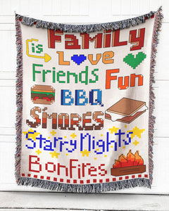 Foal14 Woven Throw For Family Camping Gift, Family Is Love, Cotton Blanket