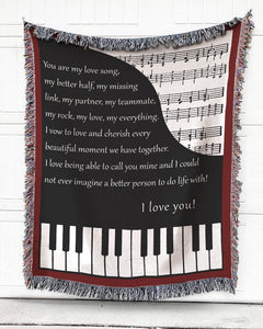 Foal14 Personalized Woven Blanket For Music Lovers Anniversary Gift, My Love Song For You, With Personalized Text