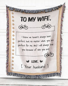 Foal14 Personalized Woven Blanket For Wife Anniversary Gift, You're Perfect For Me, With Personalized Text