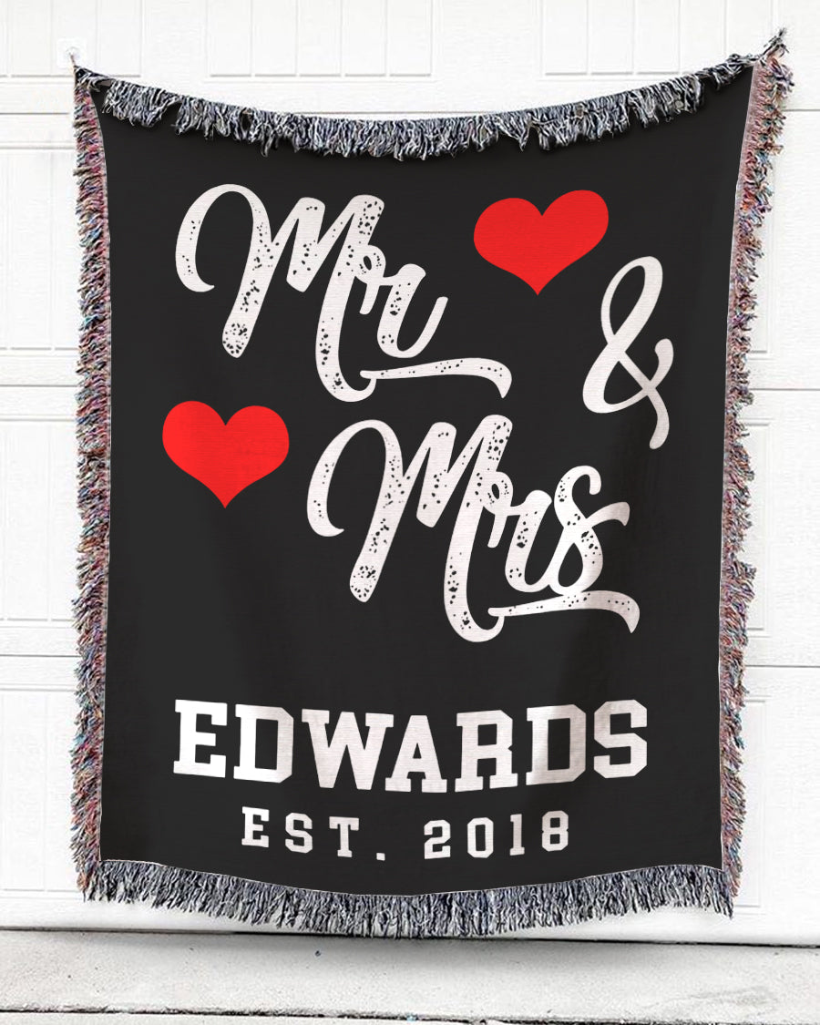 Foal14 Personalized Woven Blanket For Newlyweds Wedding Gift, Anniversary Blanket, Mister And Missus, With Personalized Name and Year