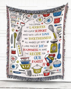 Foal14 Woven Throw For Family Anniversary Gift, The Recipe For Family, Cotton Blanket