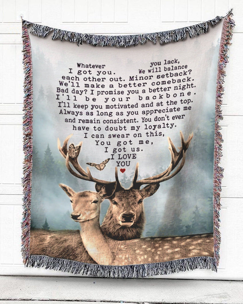 Foal14 Woven Throw For Husband And Wife Anniversary Gift, Dear My Deer, Cotton Blanket