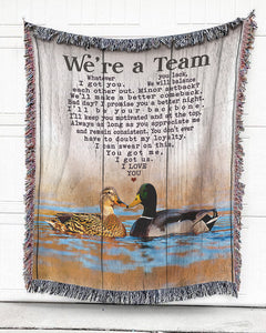 Foal14 Woven Throw For Husband And Wife Anniversary Gift, We're A Team, Cotton Blanket