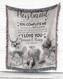 Foal14 Woven Throw For Husband Anniversary Gift, You Complete Me, Cotton Blanket