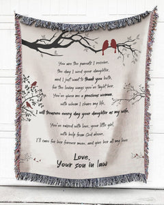 Foal14 Woven Throw For Parents In Law Thank You Gift, From Son In Law, Cotton Blanket